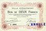 Billets Hautmont (59). Ville. Billet. 2 francs 14.12.1914, 2e série, Spécimen