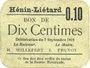 Billets Hénin-Liétard (62). Ville. Billet. 10 centimes 7.9.1915, carton gris