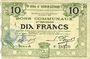 Billets Hénin-Liétard (62). Ville. Billet. 10 francs 6.3.1916, série A, annulation par perforation