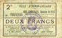 Billets Hénin-Liétard (62). Ville. Billet. 2 francs, émission 1915, 24.12.1914