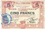 Billets Hénin-Liétard (62). Ville. Billet. 5 francs 6.3.1916, série A