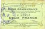 Billets Iwuy (59). Commune. Billet. 2 francs 19.11.1914