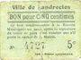 Billets Landrecies (59). Ville. Billet. 5 centimes