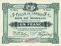 Billets Lannoy (59). Ville. Billet. 1 franc, 4e série, essai, sans numérotation. Cachet Spécimen