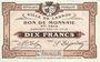 Billets Lannoy (59). Ville. Billet. 10 francs, 4e série, essai, sans numérotation. Annulation manuscrite