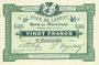 Billets Lannoy (59). Ville. Billet. 20 francs, 3e série, essai, sans numérotation. Annulation manuscrite