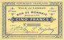 Billets Lannoy (59). Ville. Billet. 5 francs, 2e série, essai, sans numérotation. Cachet Spécimen