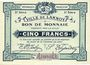 Billets Lannoy (59). Ville. Billet. 5 francs, 3e série, essai, sans numérotation. Annulation manuscrite