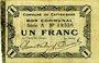 Billets Le Cateau (59). Comité d'Alimentation. Billet. 1 franc 12.12.1915, série A.