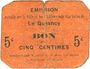 Billets Le Quesnoy (59). Ville et Etablissements Charitables. Billet. 5 centimes
