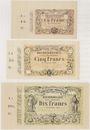 Billets Lens (62). Decrombecque (raffineur). Lot de 3 billets, 1, 5 et 10 francs 15.10.1870, non émis