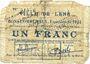 Billets Lens (62). Ville. Billet. 1 franc 14.11.1914, essai avec cachet Muster et RM. /bon annulé (...)