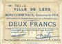 Billets Lens (62). Ville. Billet. 2 francs 14.11.1914