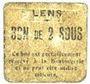 Billets Lens (62). Ville. Billet. 2 sous. Au revers, cachet rouge de la Banque de France avec le n° 8213