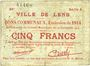 Billets Lens (62). Ville. Billet. 5 francs 14.11.1914, série A