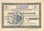Billets Lesdins (02). Commune. Billet. S.Q.G., 2 francs 8.8.1916