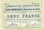 Billets Lewarde (59). Commune. Billet. 2 francs 13.1.1915, série D