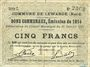 Billets Lewarde (59). Commune. Billet. 5 francs 13.1.1915, série C