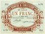 Billets Lille (59). Banque d'Emission. Billet. 1 franc 12.3.1915, série S