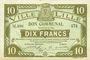 Billets Lille (59). Ville. Billet. 10 francs 13.7.1917, série M