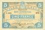 Billets Lille (59). Ville. Billet. 5 francs 11.4.1917, série C