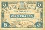 Billets Lille (59). Ville. Billet. 5 francs 28.11.1916, série B