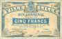 Billets Lille (59). Ville. Billet. 5 francs 31.8.1914, série C