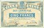 Billets Lille (59). Ville. Billet. 5 francs 31.8.1914, série J