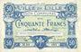 Billets Lille (59). Ville. Billet. 50 francs 11.4.1917, série M