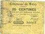 Billets Malzy (02). Commune. Billet. 25 centimes 20.6.1915, série A
