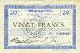 Billets Marteville (02). Billet. S.Q.G., 20 francs 8.8.1916