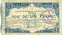 Billets Maubeuge & Solre-le-Château (59). Syndicat des Communes. Billet. 1 franc 11.3.1915