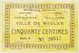 Billets Meulan (76). Ville. Billet. 50 centimes 1.12.1920, série A