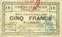 Billets Meurchin (62). Commune. Billet. 5 francs 10.5.1915, série B, annulation au dos par cachet rond