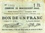 Billets Monchecourt (59). Commune. Billet. 1 franc 15.12.1914