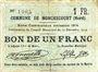 Billets Monchecourt (59). Commune. Billet. 1 franc 15.12.1914