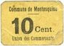 Billets Montesquiou (32). Union des Commerçants. Billet. 10 centimes
