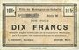 Billets Montigny-en-Gohelle (62). Ville. Billet. 10 francs 9.11.1914, série M