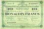 Billets Montmédy (55). Syndicat de Communes de la région de Montmédy. Billet. 10 francs 14.1.1918, série U