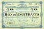 Billets Montmédy (55). Syndicat de Communes de la région de Montmédy. Billet. 20 francs 24.5.1917, série N