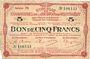 Billets Montmédy (55), Syndicat de Communes de la région de Montmédy, billet, 5 francs 24.5.1917, série M