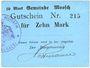 Billets Moosch (68). Commune. Billet. 10 mark (1914-1915). Carton bleu. Cachet communal français