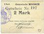 Billets Moosch (68). Commune. Billet. 2 mark (1914-1915). Carton blanc. Cachet communal français
