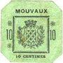 Billets Mouvaux (59). Ville. Billet. 10 centimes, cachet rond
