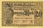 Billets Mulhouse (68). Ville. Billet 20 mark 15.10.1918. Annulation au revers par cachet « ANNULÉ »