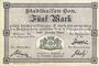 Billets Mulhouse (68). Ville. Billet 5 mark 10.9.1914. Non annulé