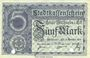 Billets Mulhouse (68). Ville. Billet 5 mark 15.10.1918. Annulé par double perforation