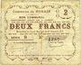 Billets Nomain (59). Commune. Billet. 2 francs 27.12.1914, série B