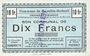 Billets Noyelles-Godault (62). Commune. Billet. 10 francs 16.5.1915, 3e émission, spécimen