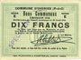 Billets Oignies (62). Commune. Billet. 10 francs 30.8.1914, série E, spécimen